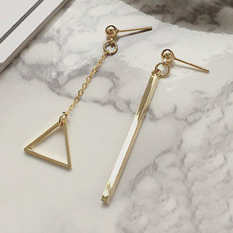 Shops Pair of Delicate Bar Hollow Out Triangle Asymmetric Earrings For Women GOLDEN