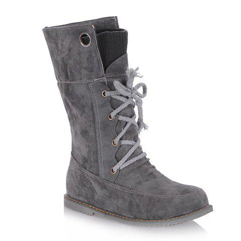 Online Casua Knitting and Lace-Up Design Women's Boots