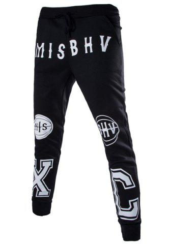Online Lace-Up Letters and Basketball Print Beam Feet Slimming Men's Pants