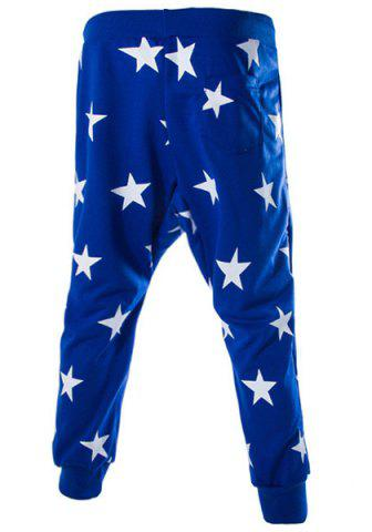 Shop Lace-Up Stars Print Low-Crotch Beam Feet Slimming Men's Nine Minutes of Pants - L BLUE Mobile