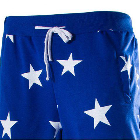 Unique Lace-Up Stars Print Low-Crotch Beam Feet Slimming Men's Nine Minutes of Pants - L BLUE Mobile