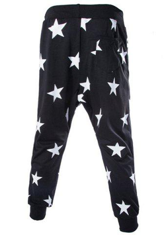 Outfits Lace-Up Stars Print Low-Crotch Beam Feet Slimming Men's Nine Minutes of Pants - L BLACK Mobile