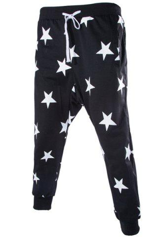 Latest Lace-Up Stars Print Low-Crotch Beam Feet Slimming Men's Nine Minutes of Pants BLACK L