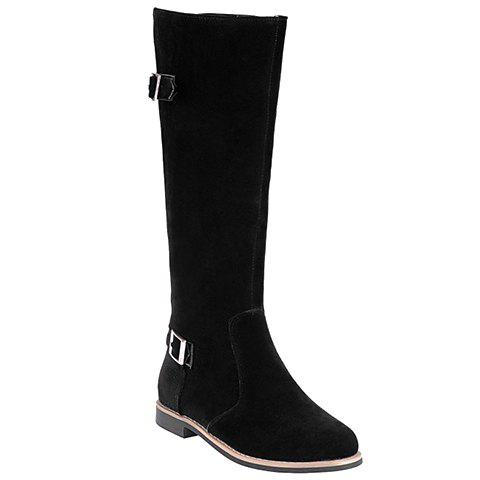 Trendy Sweet Buckles and Zip Design Women's Mid-Calf Boots BLACK 39