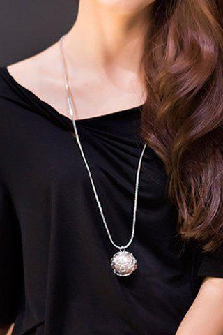 Unique Delicate Faux Pearl Hollow Out Ball Shape Necklace For Women