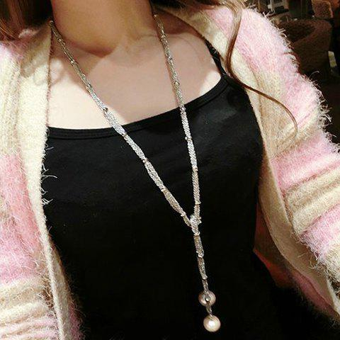 Outfit Faux Pearl Pendant Sweater Chain