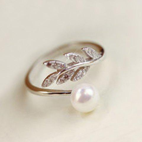 Fashion Sweet Faux Pearl Leaf Cuff Ring For Women