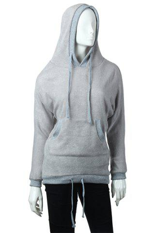 Buy Fashion Hooded Solid Color Batwing Long Sleeves Loose-Fitting Blended Women's Hoodie