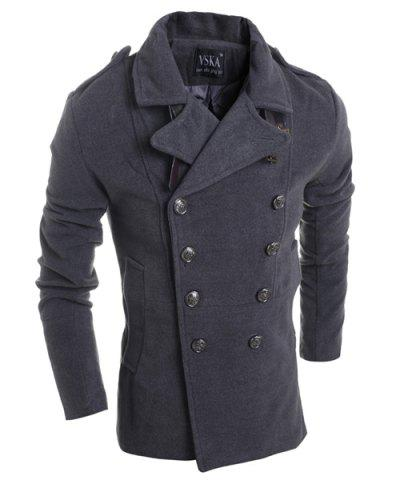 Turn-Down Collar Double Breasted Long Sleeve Epaulet Design Men's Woolen Jacket - Deep Gray - M
