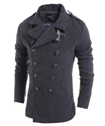 Hot Turn-Down Collar Double Breasted Long Sleeve Epaulet Design Men's Woolen Jacket - M DEEP GRAY Mobile