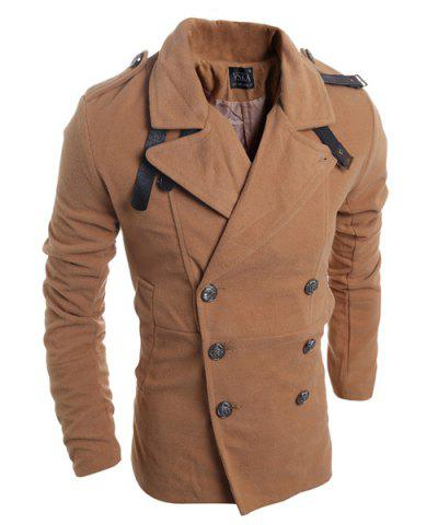 Affordable Turn-Down Collar Double Breasted Long Sleeve Epaulet Design Men's Woolen Jacket