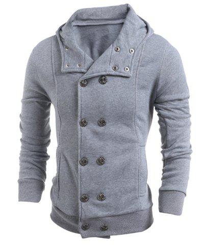 Best Turn-Down Collar Double-Breasted Long Sleeve Thicken Men's Jacket LIGHT GRAY 2XL