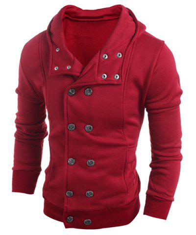 Hot Turn-Down Collar Double-Breasted Long Sleeve Thicken Men's Jacket RED L