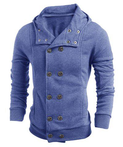 Turn-Down Collar Double-Breasted Long Sleeve Thicken Men's Jacket - Blue - M