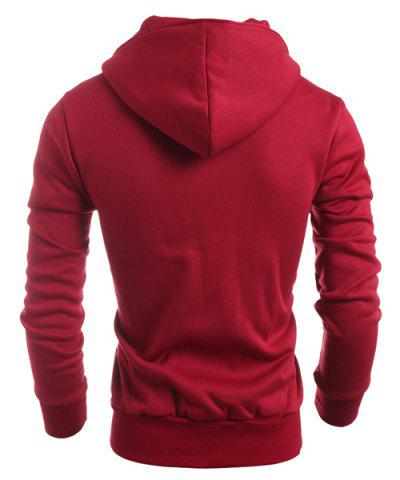 Fashion Turn-Down Collar Double-Breasted Long Sleeve Thicken Men's Jacket - L RED Mobile