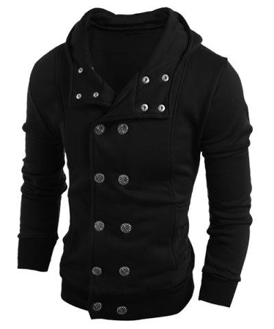 Turn-Down Collar Double-Breasted Long Sleeve Thicken Men's Jacket - BLACK 2XL