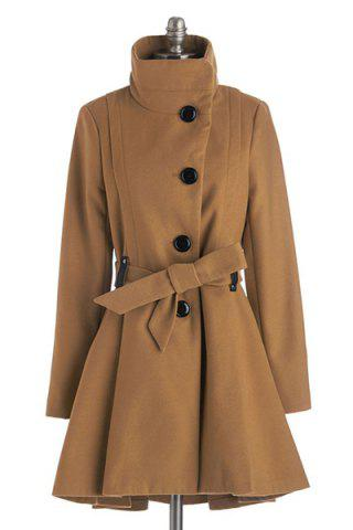 Noble Solid Color Turn-Down Collar Belt Design Wool Coat For Women