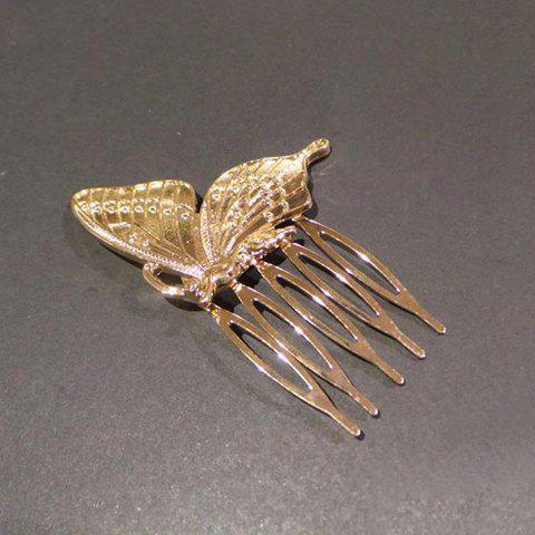 Shops Sweet Solid Color Butterfly Hair Comb For Women GOLDEN