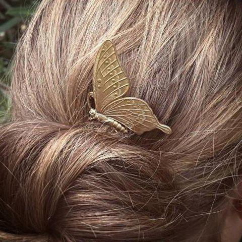 Chic Sweet Solid Color Butterfly Hair Comb For Women - GOLDEN  Mobile