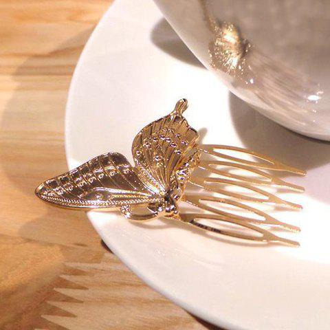 Outfit Sweet Solid Color Butterfly Hair Comb For Women - GOLDEN  Mobile