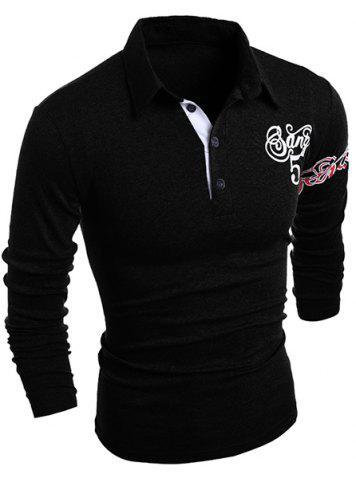 Online Graphic Print Long Sleeve Buttons Men's Polo T-Shirt BLACK L