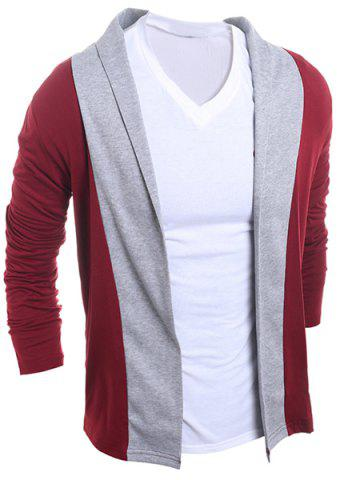 Fancy Turn-Down Collar Color Block Splicing Long Sleeve Men's Cardigan