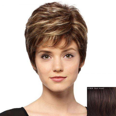 Fashion Spiffy Short Capless Trendy Side Bang Fluffy Curly Human Hair Wig For Women