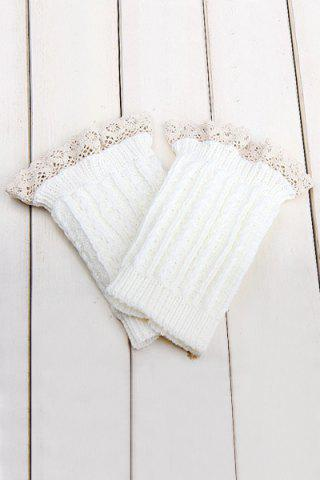 Best Pair of Chic Lace Embellished Herringbone Knitted Boot Cuffs For Women WHITE