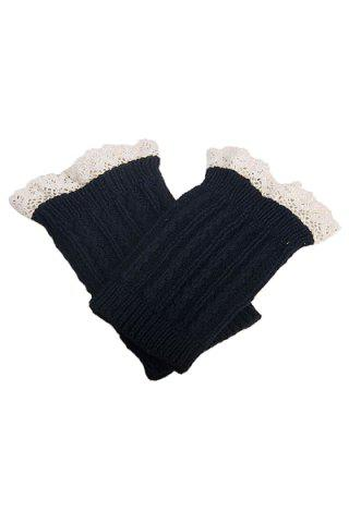 Pair of Chic Lace Embellished Herringbone Knitted Boot Cuffs For Women - Black - S