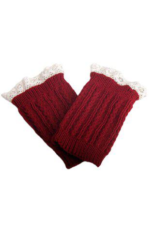 Affordable Pair of Chic Lace Embellished Herringbone Knitted Boot Cuffs For Women RED