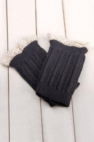 Cheap Pair of Chic Lace Embellished Herringbone Knitted Boot Cuffs For Women DEEP GRAY