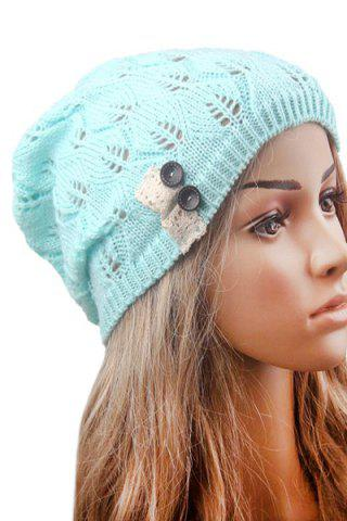 Chic Button Hollow Out Toboggan Hat