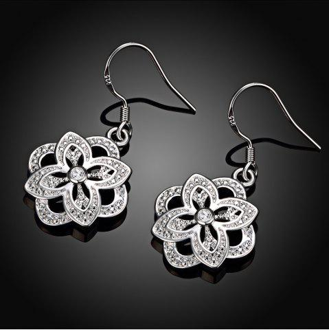 Silver Plated Floral Shape Zircon Design Drop Earrings - WHITE