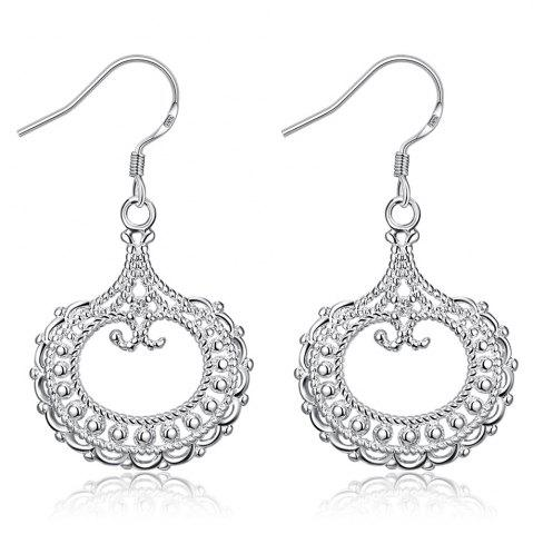 Pair of Silvered Plated Round Shape Hollow Out Drop Earrings - White