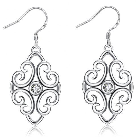 Fashion Trendy Geometric Shape Rhinestone Silver Plated Drop Earrings for Ladies