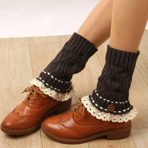 Online Pair of Chic Button Lace Rope Embellished Hollow Out Knitted Boot Cuffs For Women