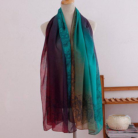 Online Fashionable Ombre Flowers Pattern Scarf For Women
