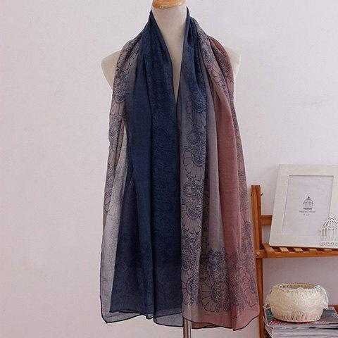 Discount Fashionable Ombre Flowers Pattern Scarf For Women