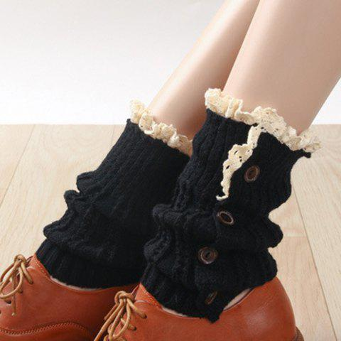 Affordable Pair of Chic Button and Lace Embellished Knitted Boot Cuffs For Women