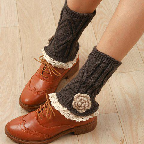 Store Pair of Chic Flower Shape and Lace Embellished Knitted Boot Cuffs For Women