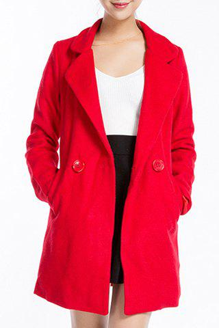 Sale Stylish Lapel Neck Long Sleeve Solid Color Pocket Design Coat For Women
