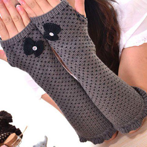 Trendy Pair of Chic Bow Embellished Heart Jacquard Knitted Fingerless Gloves For Women
