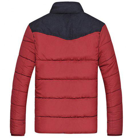 Shops Flocking Stand Collar Splicing Design Long Sleeve Thicken Men's Cotton-Padded Jacket - M RED Mobile