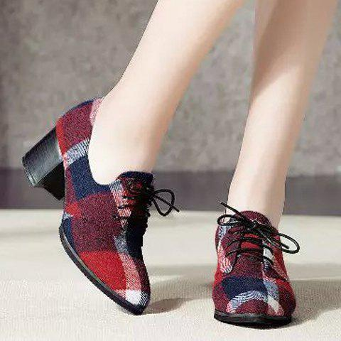 Trendy British Style Checked and Color Block Design Women's Pumps - 37 RED Mobile