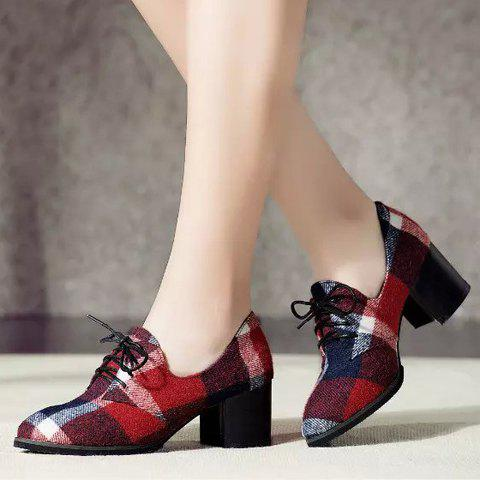 Buy British Style Checked and Color Block Design Women's Pumps - 37 RED Mobile