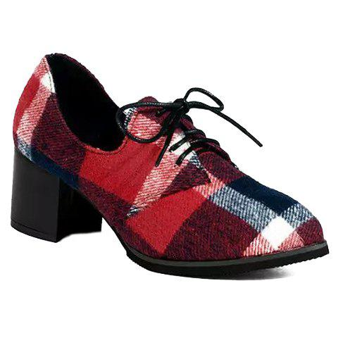 New British Style Checked and Color Block Design Women's Pumps