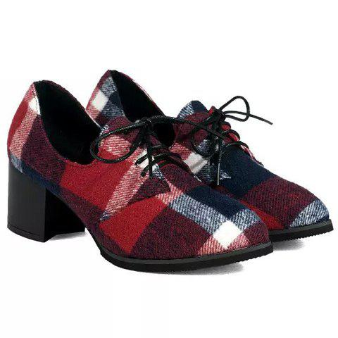 Outfit British Style Checked and Color Block Design Women's Pumps - 37 RED Mobile