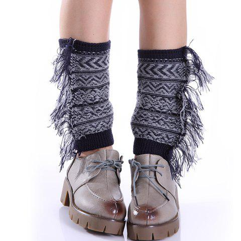 Shop Pair of Chic Bohemian Geometric Pattern Tassel Knitted Boot Cuffs For Women