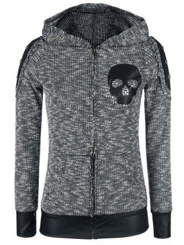 Faux Leather Spliced Hooded Skull Printed Zip Up Hoodie 154281303