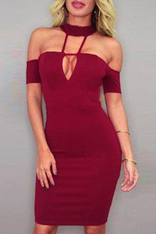 Stand Collar Strappy Hollow Out Bodycon Dress For Women 154329706